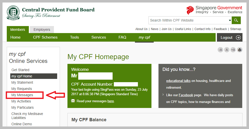 Hospitalisation Insurance Singapore CPF My Messages