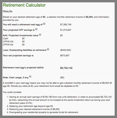 How Much Is Enough For Retirement in Singapore CPF Retirement Calculator 3